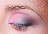 Closed eye with snowy makeup — Stock Photo