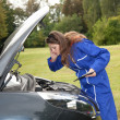 Female car mechanic with in action - Stock Photo