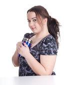 Tłuszczu dziewczyna z kubek — Zdjęcie stockowe