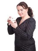 胖女孩以及礼品盒 — 图库照片