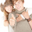 Young couple, thumbs up — Stock Photo