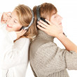Happy couple in headphones — Stock Photo #6837269