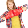 Angry girl in boxing gloves — Stock Photo
