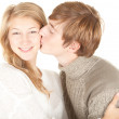 Stock Photo: Mkissing girlfriend