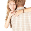 Girlfriend hugging man and — Stockfoto