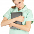 Female doctor with laptop — Stock Photo #6838151
