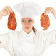 Female chef with meat — Stock Photo #6838305