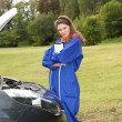 Female car mechanic with in action — Stock Photo #6838485