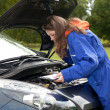 Female car mechanic with in action — Stock Photo #6838535