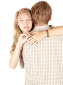 Girlfriend hugging man and — Stock Photo