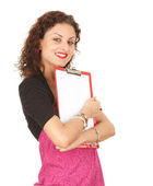 Smiling girl with clipboard — Stock Photo