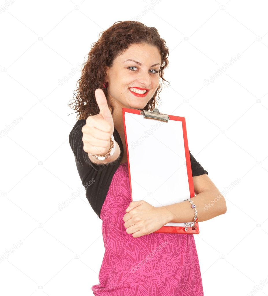Smiling young woman in pink blouse keeping blank clipboard, thumb up  — Stock Photo #6837558