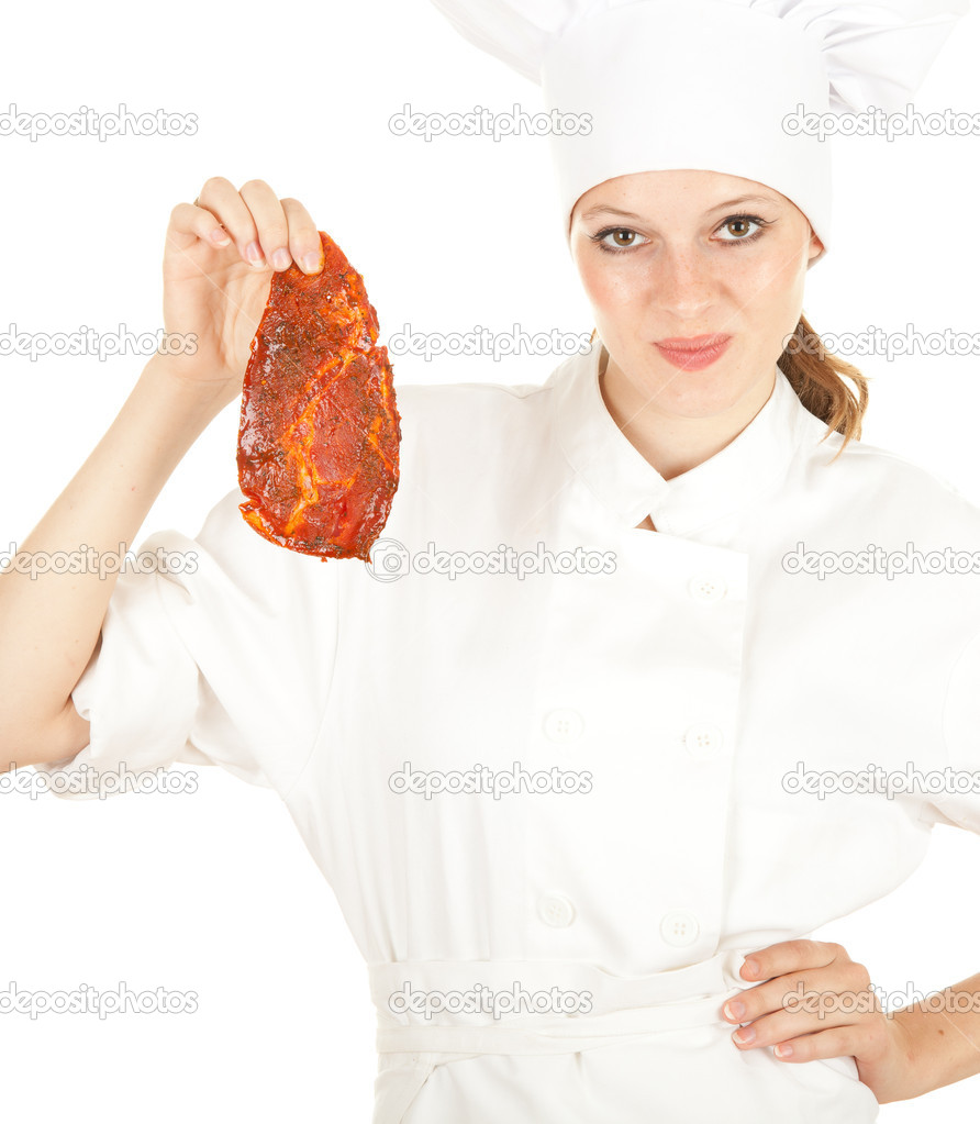 Female chef in white uniform and hat with meat, series — Stock Photo #6838273