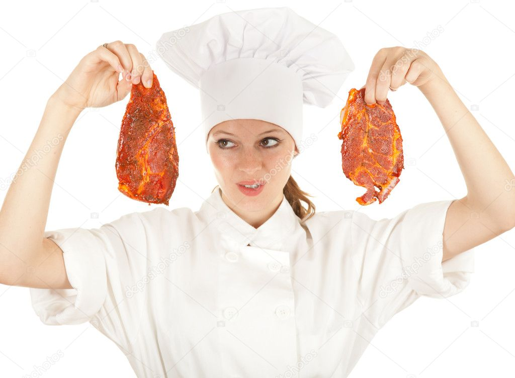 Female chef in white uniform and hat with meat, series — Stock Photo #6838305
