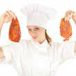Female chef with meat — Stock Photo