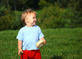 Baby boy on the meadow, series — Stock Photo