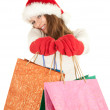 Christmas girl with shopping bags — Stock Photo #6880079