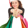 Christmas girl with shopping bags — Stock Photo #6880469