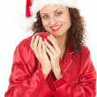 Santa girl with red apple — Stock Photo #6880494