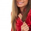 Young woman in red pajamas — Stock Photo #6880561