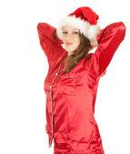 Smiling Santa girl — Stock Photo