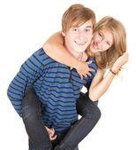 Přítel dává dívka zádech — Stock fotografie