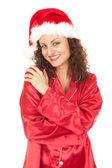 Santa meisje glimlachen — Stockfoto