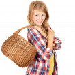 Shopping girl with wicker basket — Lizenzfreies Foto