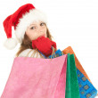 Christmas girl with shopping bags — Stock Photo #6908364
