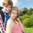 Young couple with backpack — Stock Photo #6908648
