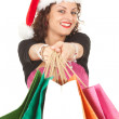 Christmas girl with shopping bags — Stockfoto
