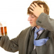 Drunk businessman in grey suit — Stock Photo
