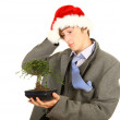 Drunk Christmas man - Stock Photo
