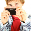 Young man taking pictures — Foto de Stock