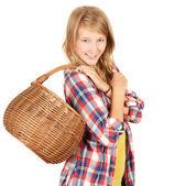 Shopping mädchen mit korb — Stockfoto