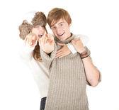 若いカップルは、あなたを指しています。 — ストック写真