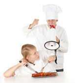 Cooks team with raw meat, series — Stock Photo