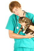 Male wet with cat — Stock Photo