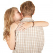 Man kissing girlfriend — Stock Photo