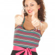 Young woman with thumbs up — Stockfoto