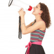 Young woman with megaphone — Stock Photo #6915446