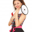 Young woman with megaphone — Stockfoto #6915447