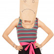 Woman in sad paper bag on head — Stockfoto #6915457