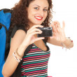Backpacker girl with camera — Stockfoto #6915502