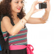 Stock Photo: Backpacker girl with camera