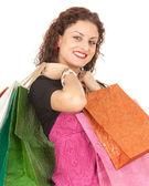 Alışveriş torbaları ile kız — Stok fotoğraf