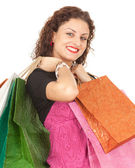 девушка с сумки — Стоковое фото