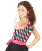 Vrouw met duimschroef opwaarts — Stockfoto