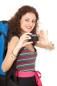 Kamera ile backpacker kız — Stok fotoğraf