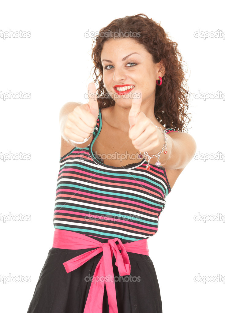 Portrait of young woman with thumbs up white backgrount — Stock Photo #6915431